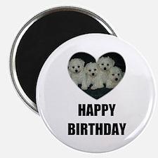 "HAPPY BIRTHDAY BICHON PUPPIES 2.25"" Magnet (10 pac"