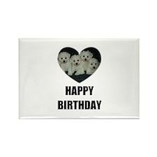 HAPPY BIRTHDAY BICHON PUPPIES Rectangle Magnet