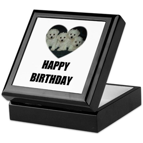 HAPPY BIRTHDAY BICHON PUPPIES Keepsake Box