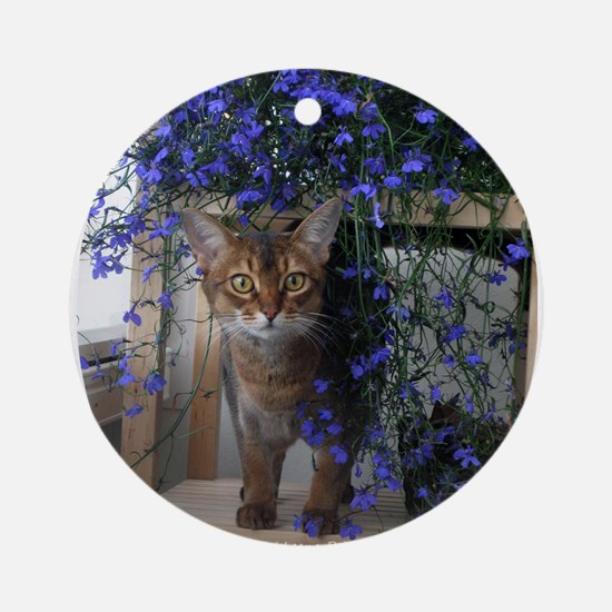 Flower Cat Ornament (Round)