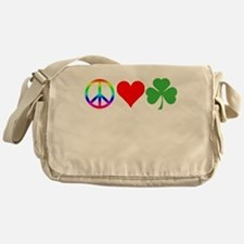 Peace Love Shamrock Irish Messenger Bag