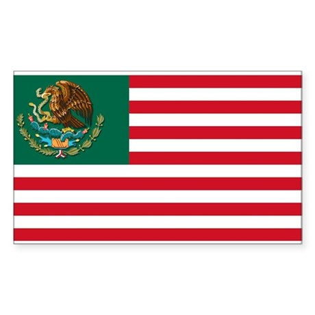 Mexican American Flag Rectangle Sticker