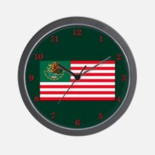 Mexican American Flag Wall Clock