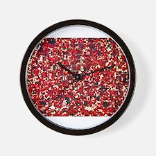 Balinese Glass Tile Art-RED Wall Clock