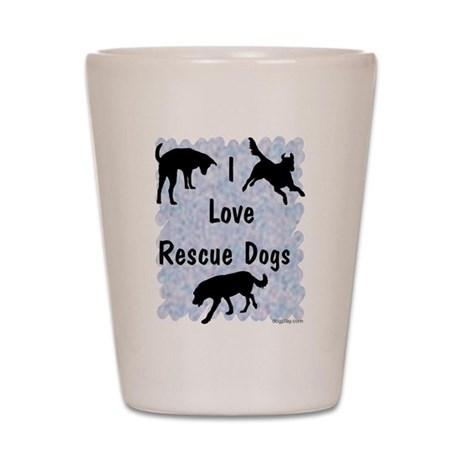 I Love Rescue Dogs (blue) Shot Glass