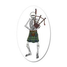Bagpiper Skeleton 22x14 Oval Wall Peel