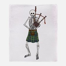 Bagpiper Skeleton Throw Blanket
