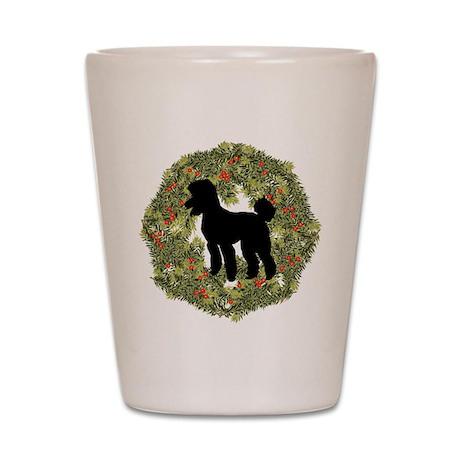 Poodle Xmas Wreath Shot Glass