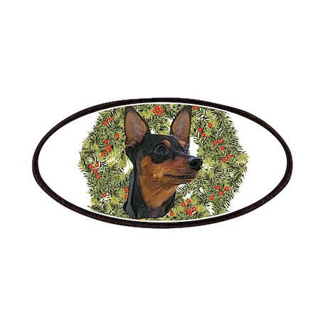 Miniature Pinscher Xmas Wreath Patches