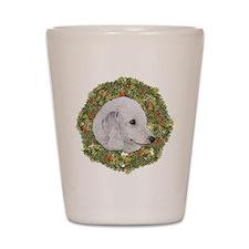 Bedlington Terrier Xmas Wreath Shot Glass