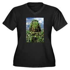 Bayon Temple Stone Faces (4) Women's Plus Size V-N