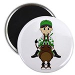 Cute Jockey and Horse Magnet
