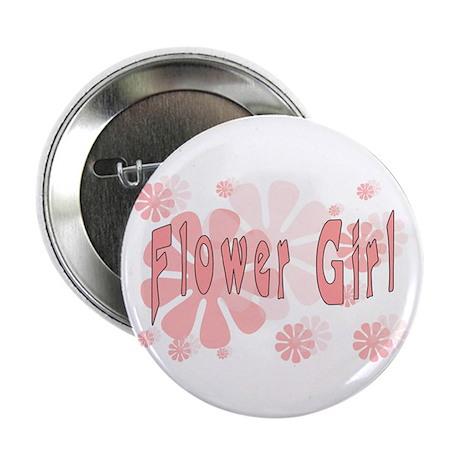 "Flower Girl Pink Flowers 2.25"" Button"
