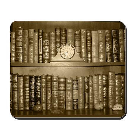 Reader's Bookshelf in Sepiatone Mousepad