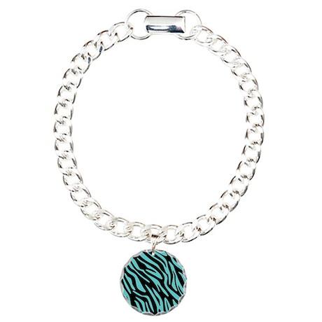 Black and Teal Zebra Pattern Charm Bracelet, One C