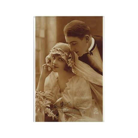 Vintage Wedding Rectangle Magnet (100 pack)