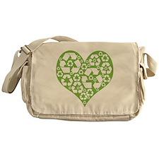 Green Heart Recycle Messenger Bag