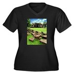 Angkor Wat Ruined Causeway Women's Plus Size V-Nec