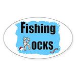 FISHING ROCKS Oval Sticker