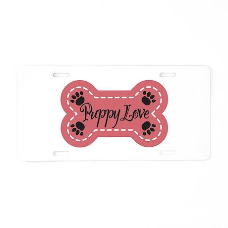 Puppy Love Aluminum License Plate