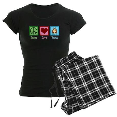 Peace Love Nurse Women's Dark Pajamas