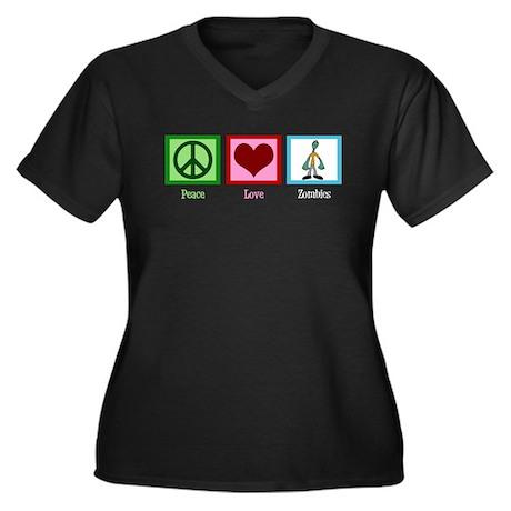 Peace Love Zombies Women's Plus Size V-Neck Dark T