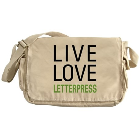 Live Love Letterpress Messenger Bag