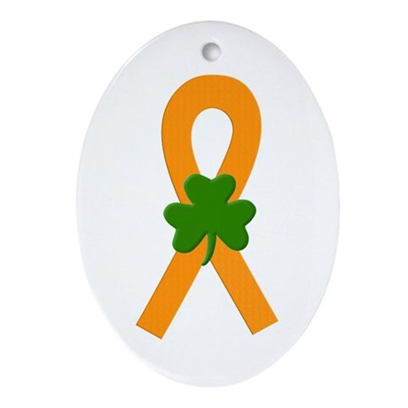 Orange Shamrock Ribbon Ornament (Oval)