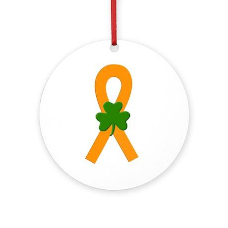 Orange Shamrock Ribbon Ornament (Round)