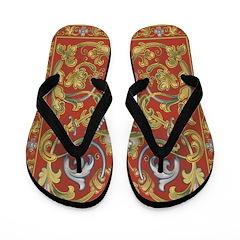 Red Tapestry Flip Flops