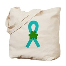 Teal Shamrock Ribbon Tote Bag