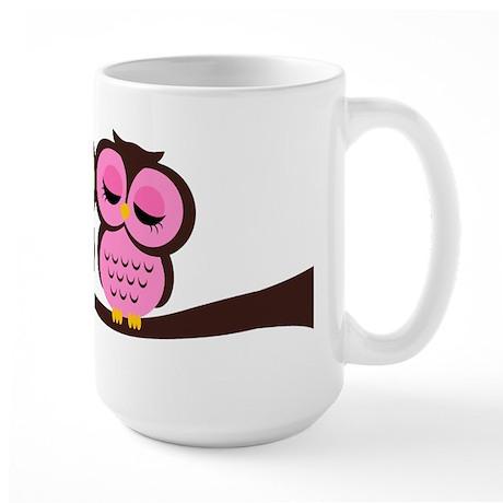 Lovely Owl Couple Large Mug