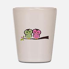 Lovely Owl Couple Shot Glass
