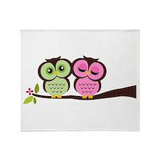 Lovely Owl Couple Throw Blanket