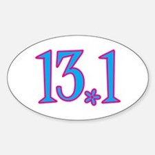 13.1 pink blue flower Sticker (Oval)