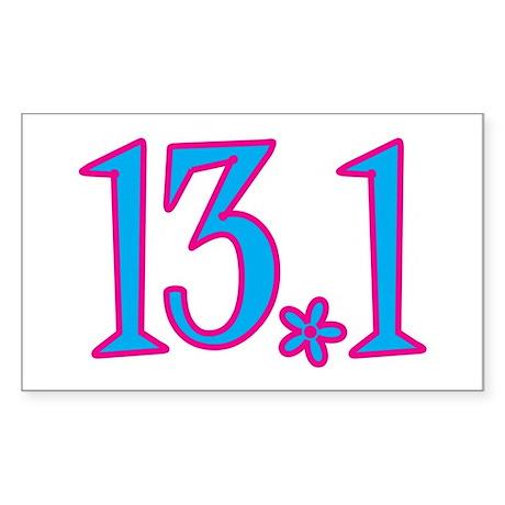 13.1 pink blue flower Sticker (Rectangle)