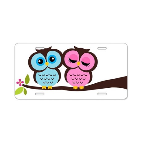 Lovely Owl Couple Aluminum License Plate