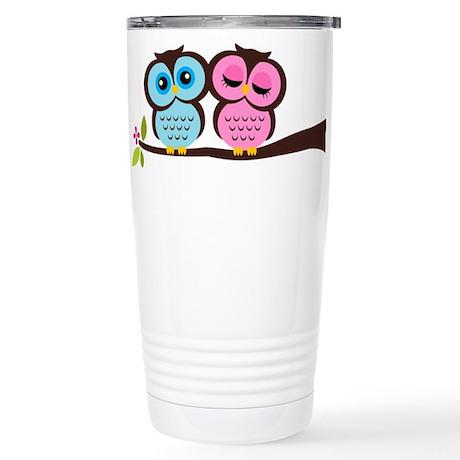 Lovely Owl Couple Stainless Steel Travel Mug