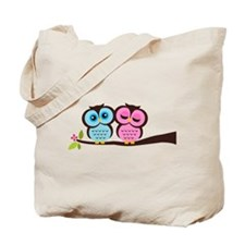 Lovely Owl Couple Tote Bag