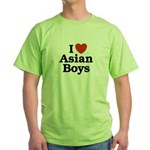 I Love Asian Boys Green T-Shirt