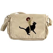 Skeleton on Cat Messenger Bag