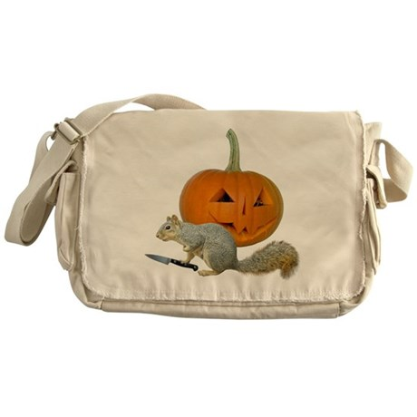 Squirrel Carving Pumpkin Messenger Bag