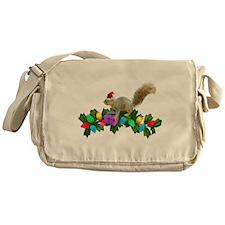 Squirrel Christmas Lights Messenger Bag