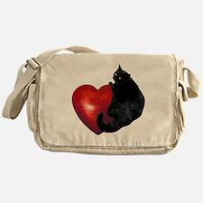 Black Cat Heart Messenger Bag
