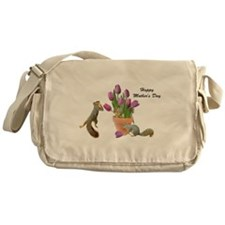 Squirrels with Pink Tulips Messenger Bag