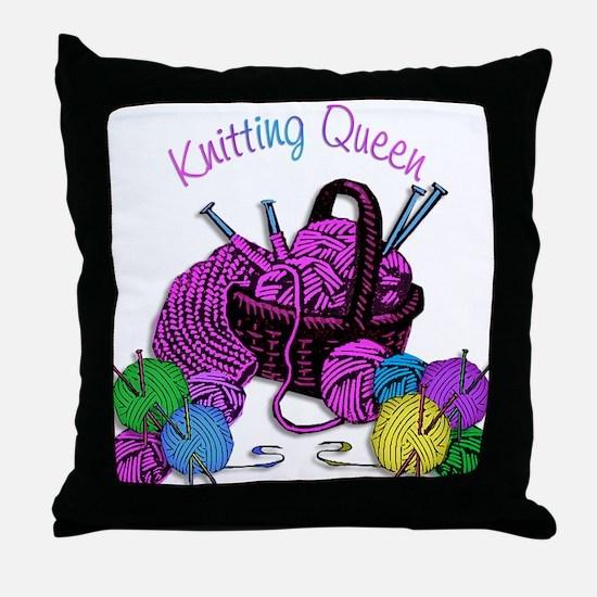 Knitting Queen Throw Pillow