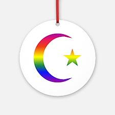 Rainbow Crescent Star Ornament (Round)