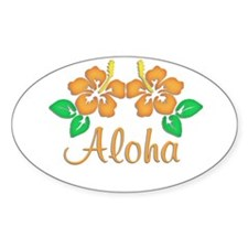 "Orange ""Aloha"" Hawaiian Flowe Oval Decal"