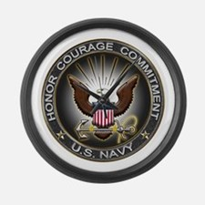 USN Eagle Honor Courage Commi Large Wall Clock