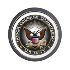 USN Eagle Honor Courage Commi Wall Clock